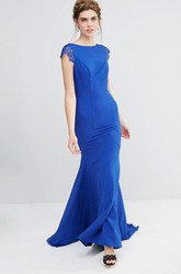 Sheath Ankle-Length Scoop Neck Appliqued Short Sleeve Chiffon Bridesmaid Dress