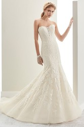 Strapless Mermaid Lace Bridal Gown With Open Back And Brush Train