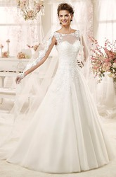 Jewel-neck A-line Wedding Dress with Illusive Design and Keyhole Back
