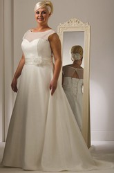 Illusion Jewel Neckline Cap Sleeve Organza Bridal Gown With Lace Up