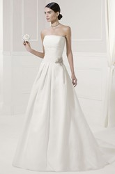 Strapless Ruched A-Line Bridal Gown With Removable Long-Sleeve Lace Jacket