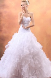 Sweetheart A-Line Organza Sleeveless Wedding Gown With Ruffles