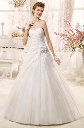 Strapless Applique A-line Wedding Dress With Flowers and Asymmetrical Overlayer