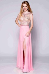 Beaded Bodice A-Line Chiffon Prom Dress With Bateau Neckline