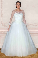 Maxi Scoop Long-Sleeve Appliqued Tulle Wedding Dress With Sweep Train And Illusion