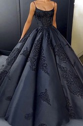 Lace Appliqued Open Back Spaghetti Elegant Satin Ball Gown With Ruffles