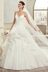 Sweetheart Spaghetti-Strap A-Line Bridal Gown With Ruffles And Lace Bodice