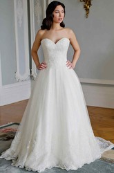 A-Line Sweetheart Tulle&Lace Wedding Dress With Court Train