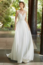 Chiffon Deep V-back Ethereal Cap Sleeve And Court Train Lace Wedding Dress