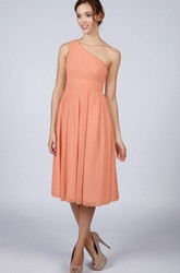 A-Line One-shoulder Ruched Short Chiffon Dress
