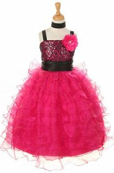 Ankle-Length Cape Floral Sequins&Organza Flower Girl Dress With Sash