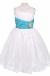 Spaghetti Tea-Length Pleated Chiffon&Sequins Flower Girl Dress With Tiers