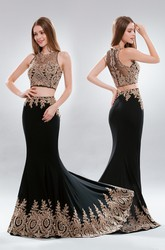 Two-Piece Sheath Long Jewel-Neck Sleeveless Jersey Illusion Dress With Appliques
