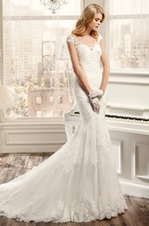 Sweetheart Cap-Sleeve Mermaid Wedding Dress With Appliques And Brush Train