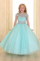 Illusion Floor-Length Pleated Tiered Tulle&Organza Flower Girl Dress With Ribbon
