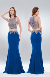 Two-Piece Mermaid Maxi High Neck Sleeveless Jersey Illusion Dress With Appliques