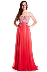 A-Line Crystal Sweetheart Floor-Length Sleeveless Chiffon Prom Dress With Lace-Up Back And Pleats