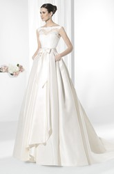 A-Line Lace Bateau-Neck Floor-Length Sleeveless Satin Wedding Dress With Draping And Bow