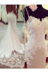 Mermaid Trumpet Spaghetti Jersey Lace Deep-V Back Wedding Gown