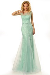 Ribboned Scoop Neck Sleeveless Lace Prom Dress With Brush Train