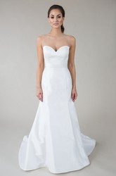 Long Sweetheart Satin Wedding Dress With V Back