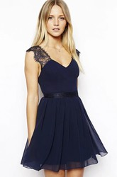 V-neck Mini Skirt With Open Back Cute Sexy Chiffon Homecoming Dress