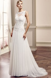 Sheath Floor-Length Sleeveless Jewel-Neck Tulle&Lace Wedding Dress With Appliques And Brush Train