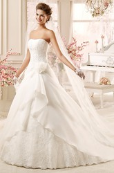 Strapless A-line Wedding Dress with Flowers and Asymmetrical Ruching