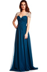 Sweetheart Criss-Cross Cap Sleeve Chiffon Prom Dress