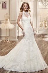 High-Neck Mermaid Lace Wedding Dress With Appliques And Brush Train