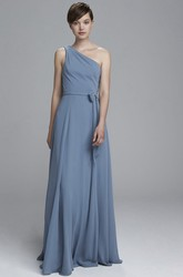 A-Line Floor-Length One-Shoulder Bowed Sleeveless Chiffon Bridesmaid Dress With Pleats
