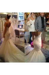 Mermaid Trumpet Spaghetti Lace Tulle Deep-V Back Wedding Gown