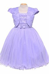 Bolero Short Bowed Tulle&Satin Flower Girl Dress With Embroidery