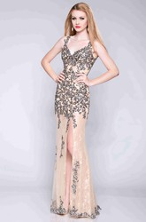Keyhole Back Sequined Lace Prom Dress With Side Slit