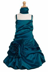 Knee-Length Cape Ruched Floral Satin Flower Girl Dress With Ribbon