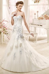 Special Sweetheart Beaded Wedding Dress with Flowers and Asymmetrical Overlayer
