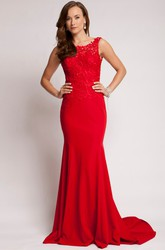 Sheath Lace Bateau Floor-Length Sleeveless Jersey Prom Dress With Backless Style And Sweep Train