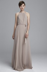 A-Line Bowed Sleeveless High Neck Chiffon Bridesmaid Dress With Straps