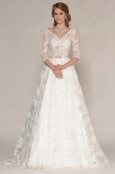A-Line 3-4-Sleeve Appliqued V-Neck Maxi Lace Wedding Dress