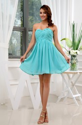 Sleeveless Sweetheart Chiffon Short Bridesmaid Dress With Criss-Cross Ruching