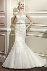 Trumpet Appliqued Cap-Sleeve Long Lace&Satin Wedding Dress With Waist Jewellery And Low-V Back