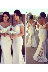 Trumpet Mermaid Sleeveless Off-the-Shoulder Lace Satin Sweep Brush Train Dresses
