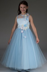 Flower Girl Jewel Neck Sleeveless Tulle Ball Gown With Flowers