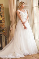 Maxi V-Neck Jeweled Tulle Wedding Dress With Court Train And Illusion