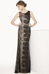 Scoop Neck Sleeveless Sheath Lace Long Prom Dress Illusion Style