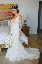 Sheath V-neck Lace Zipper Wedding Dress