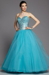 Ball Gown Sweetheart Sleeveless Tulle Dress With Beading And Draping
