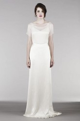 Short Sleeve Illusion Top And Keyholes For Shoulder And Back Elegant Wedding Dress