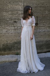 Ethereal Tulle Plunging Floor Length Bridal Gown with Court Train
