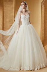 Classic Sweetheart Ball Gown With Unique Corset And Brush Train